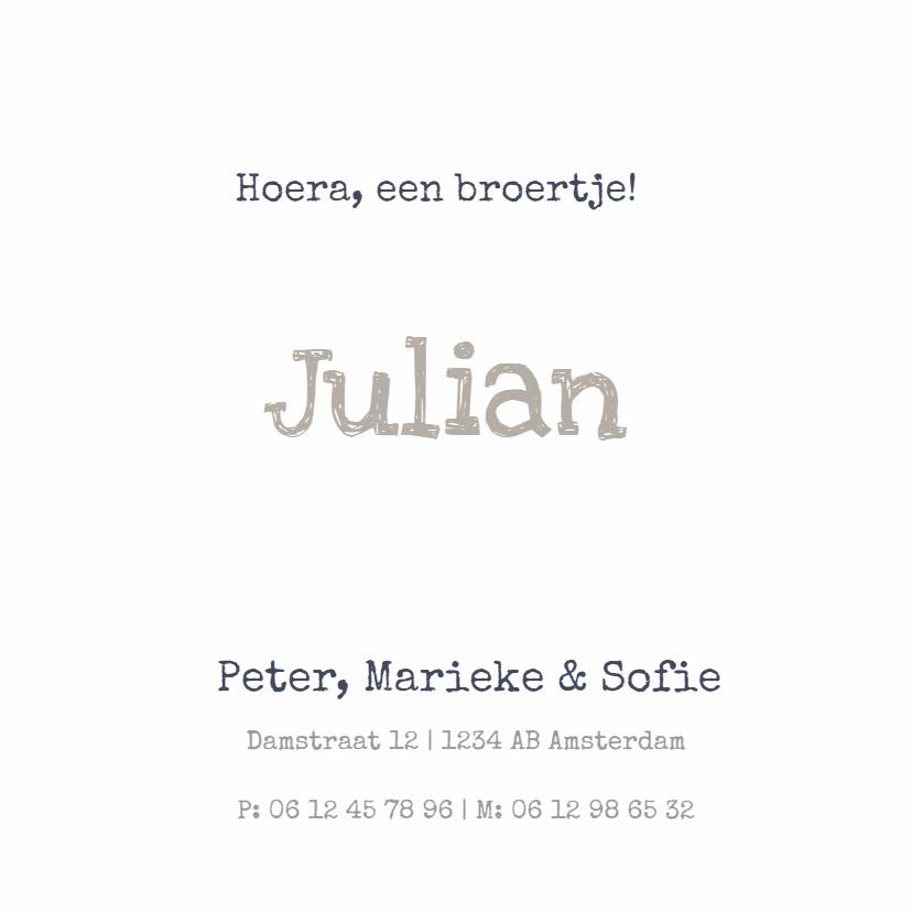 Stoer geboortekaartje Julian SS 3