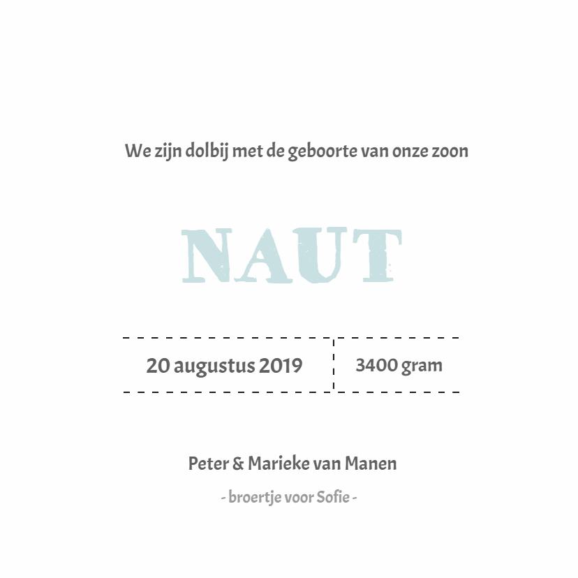 Stoer geboortekaartje label Naut 3