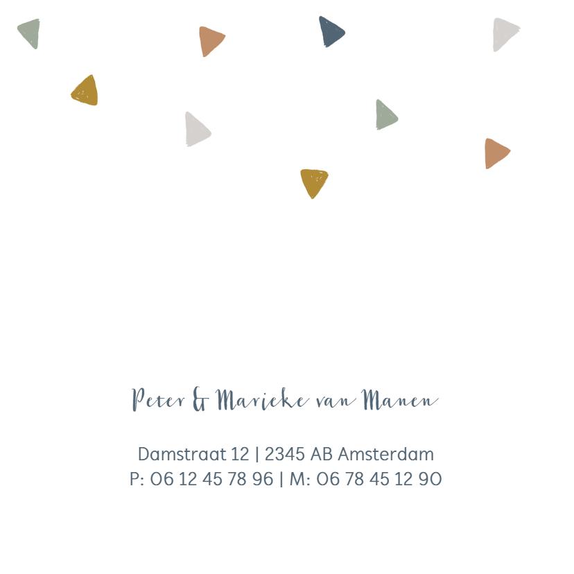 Stoer jongens geboortekaartje met driehoekjes 2