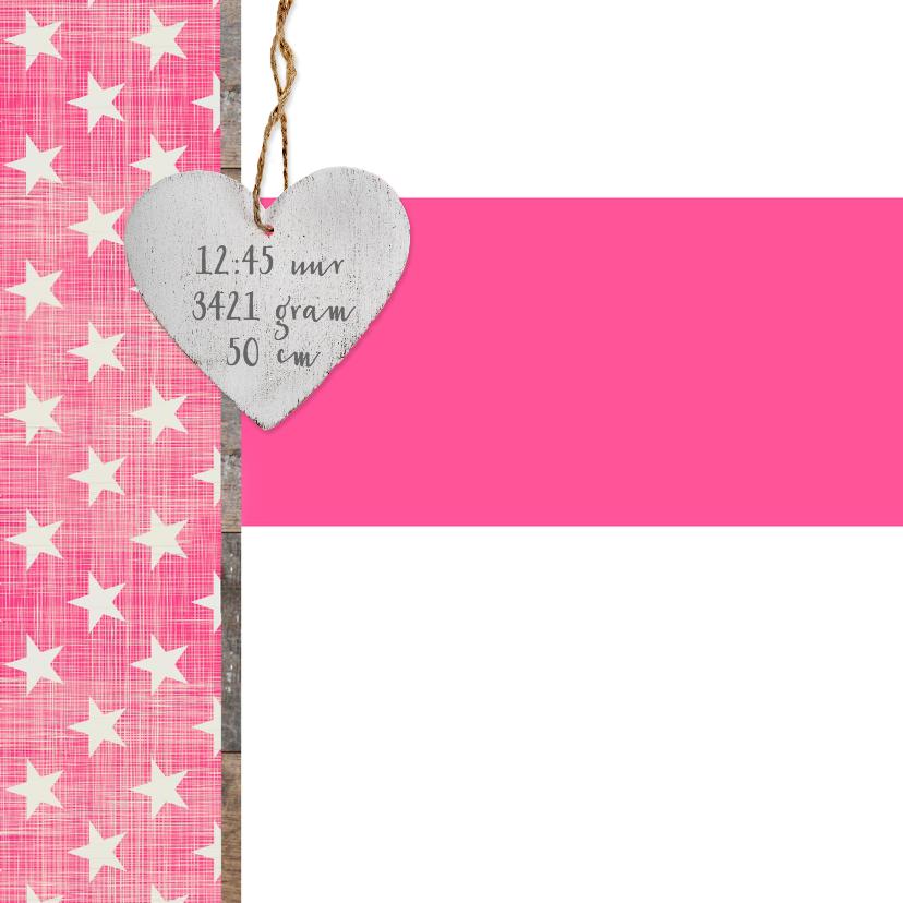 Stoer meisjes geboortekaart met hart 2