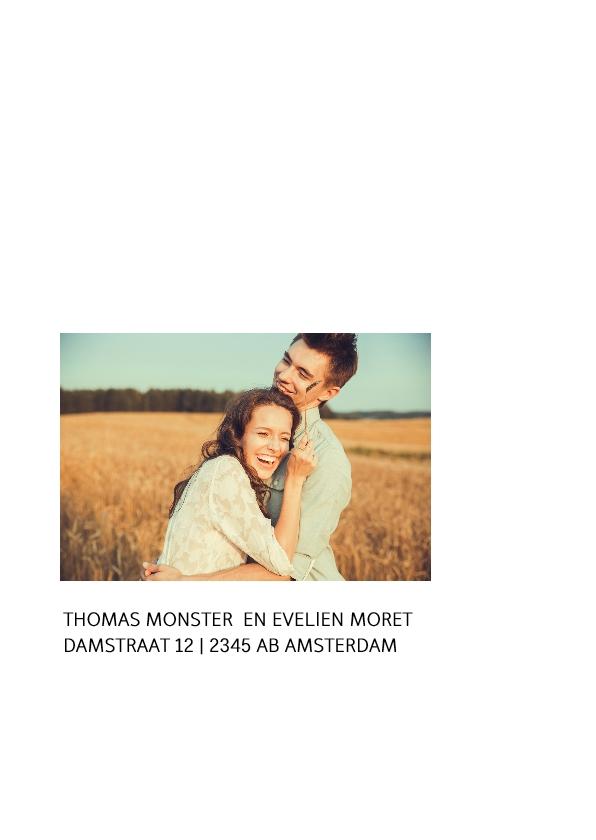 Strakke trouwkaart met een eigen foto 2