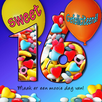 Verjaardagskaarten - Sweet sixteen, met snoep
