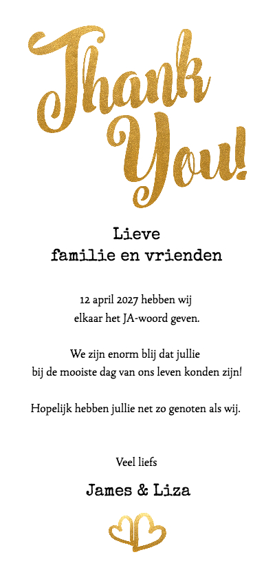 Thank you goud foto langwerpig - BK achterkant