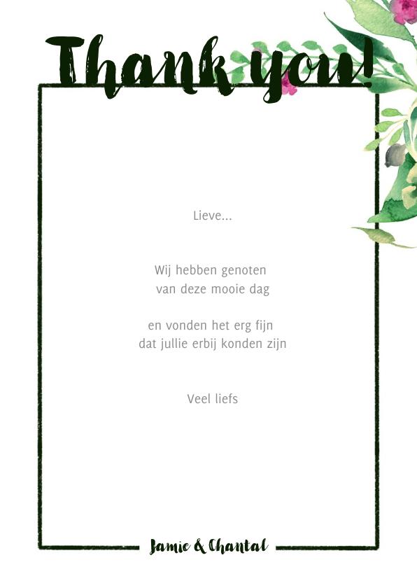 Thank you! Trouwkaart Stijlvol wit met bloemen 3