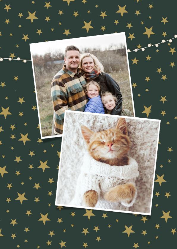Trendy fotocollage nieuwjaarskaart met 4 foto's en namen 2
