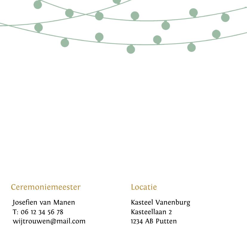 Trendy trouwkaart met lampjes slingers in eigen kleuren 2