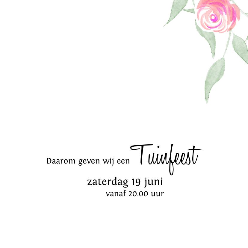 Trendy uitnodiging met roosjes voor een tuinfeest  3