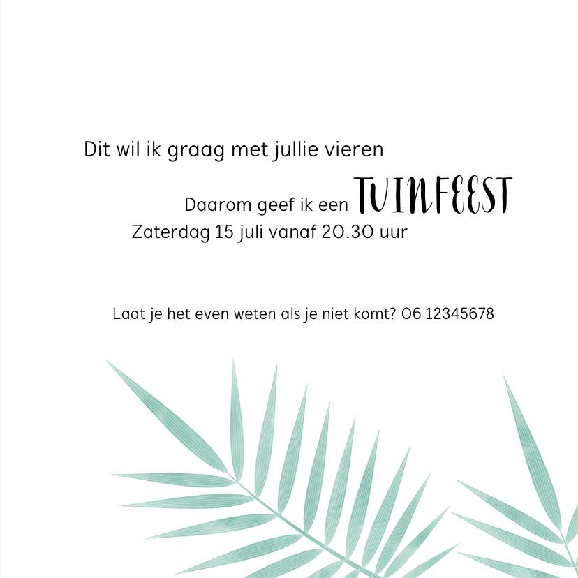 Trendy uitnodiging voor een tuinfeest met tropische bladeren 3