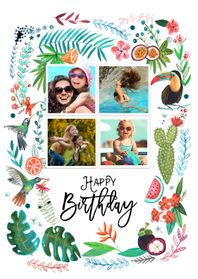 Verjaardagskaarten - Trendy verjaardagskaart Tropisch