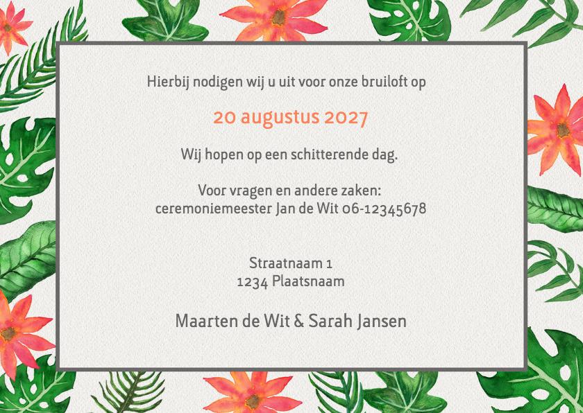 Tropical uitnodiging trouwen -DH 3