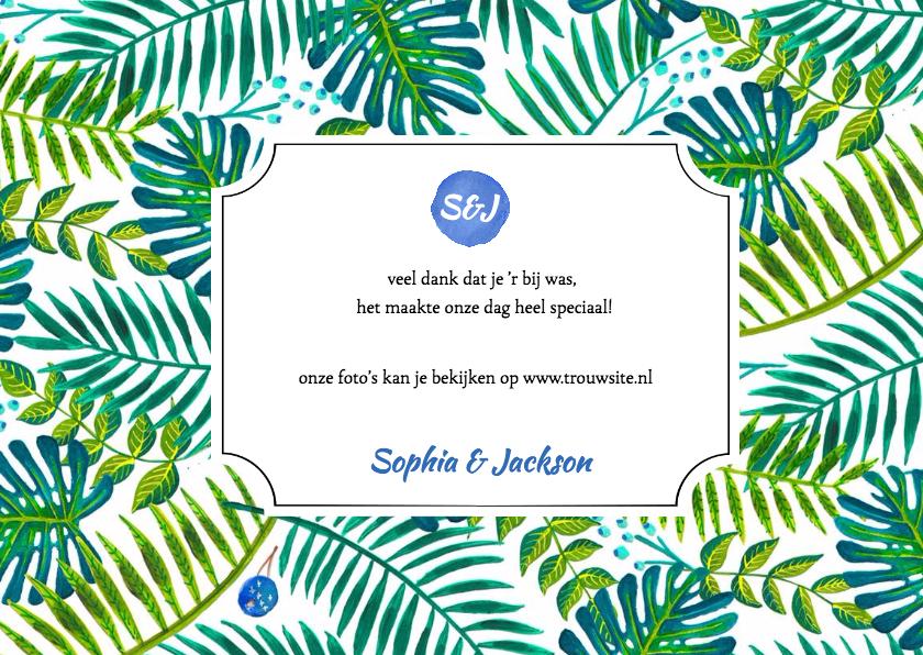 Tropisch bedankkaartje Trouwen 3