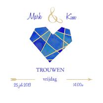 Trouwkaarten - Trouwen hart diamant
