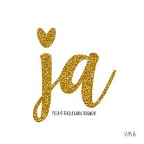 Trouwkaarten - Trouwen JA modern goud glitter