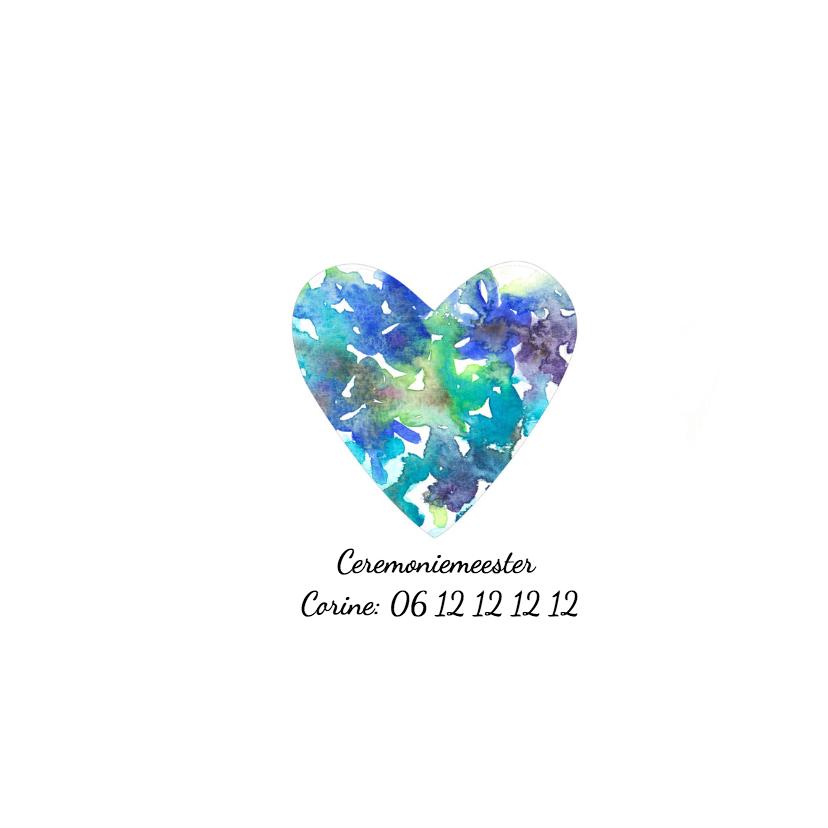 Trouwkaart aquarel blauw hart 2