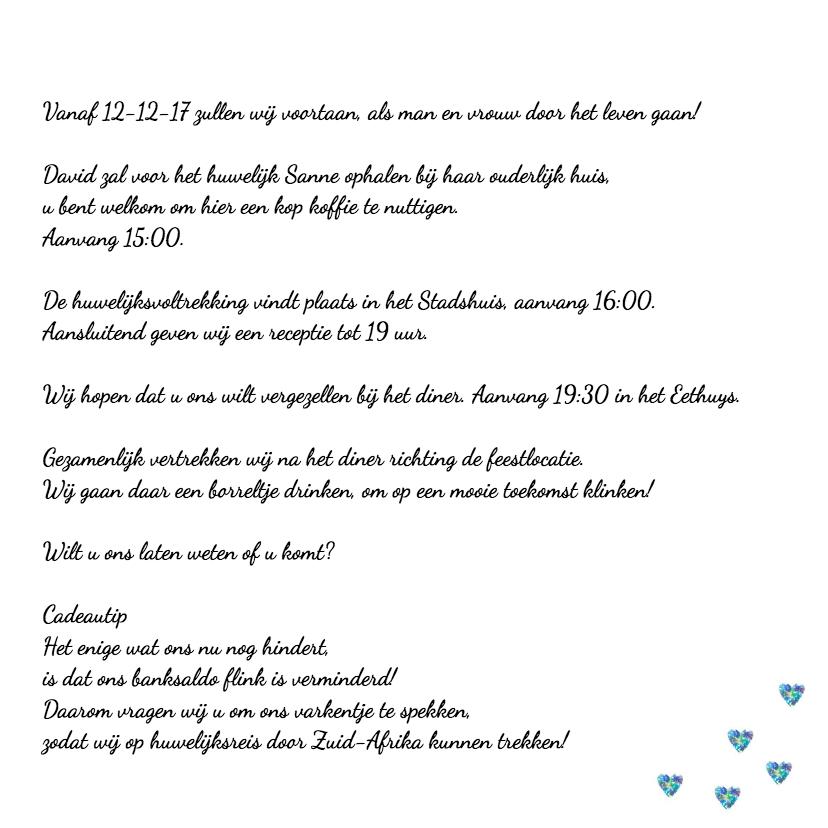 Trouwkaart aquarel blauw hart 3