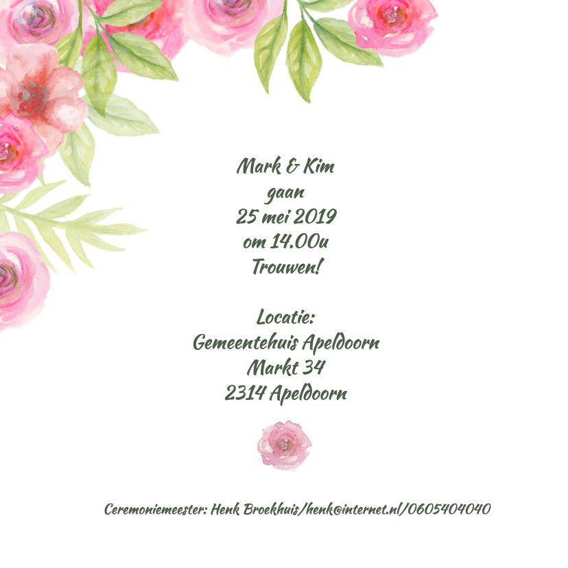 Trouwkaart aquarel bloemen 2