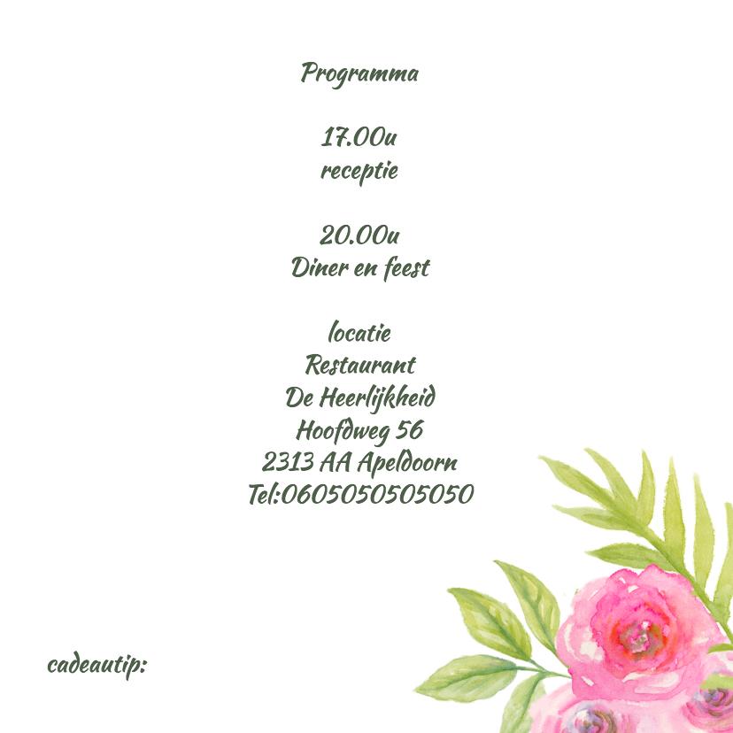 Trouwkaart aquarel bloemen 3