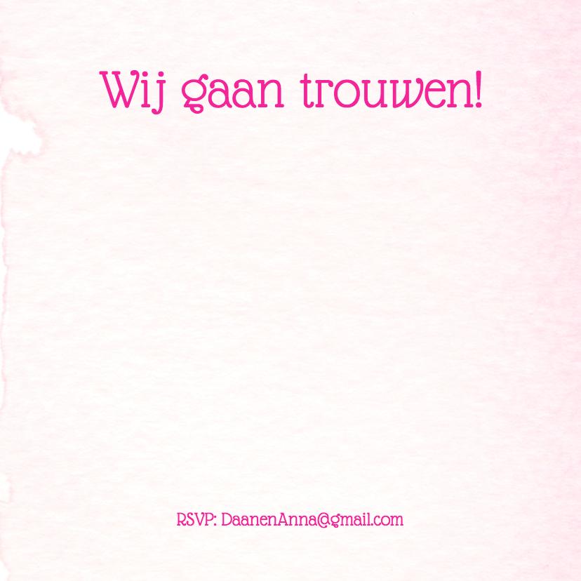 Trouwkaart aquarel roze hart 2