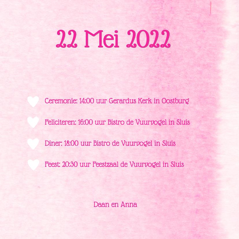 Trouwkaart aquarel roze hart 3