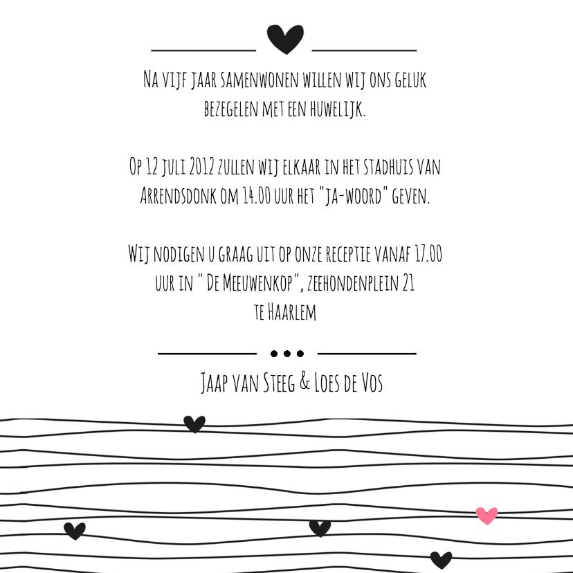 Trouwkaart Black&White love line 3