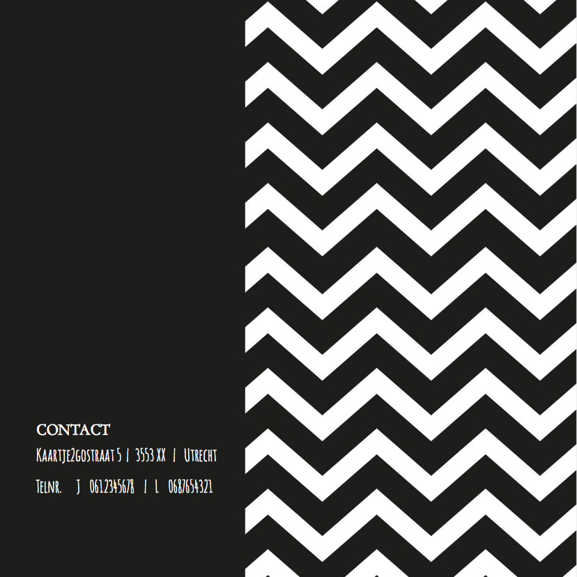 Trouwkaart Black&White zigzag 2