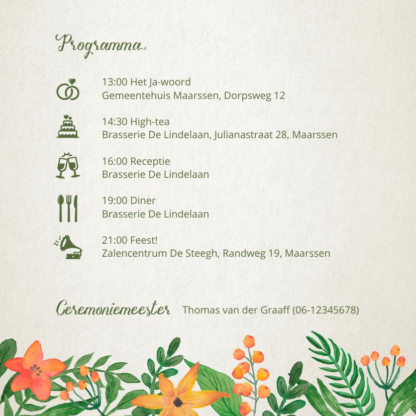 Trouwkaart bloemen en blaadjes 2