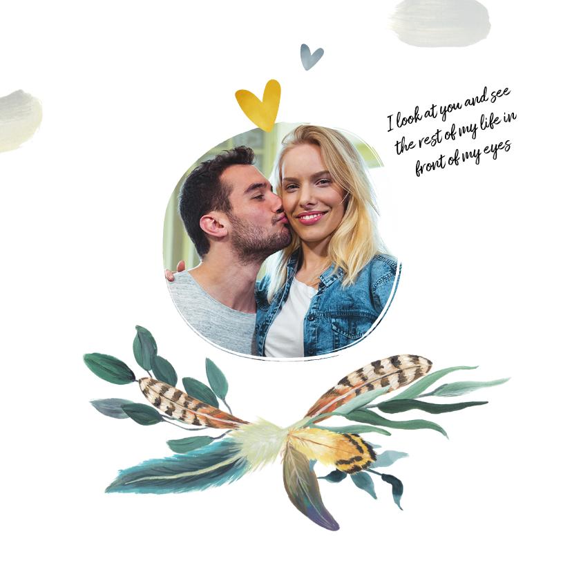 Trouwkaart bohemian romantisch met veren 2