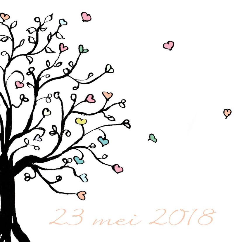 Trouwkaart boom met hartjes 2
