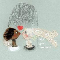 Trouwkaarten - Trouwkaart bruidje en bruidegommetje collagetechniek - MB
