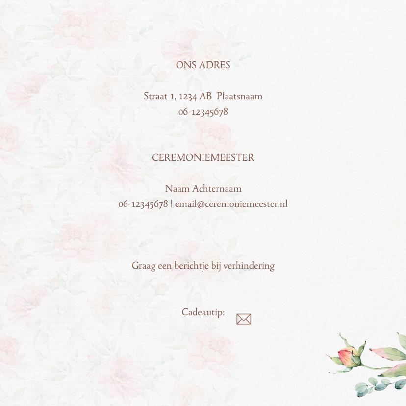 Trouwkaart bruidstaart rozen 2