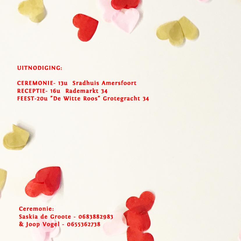trouwkaart foto confetti hartjes 2