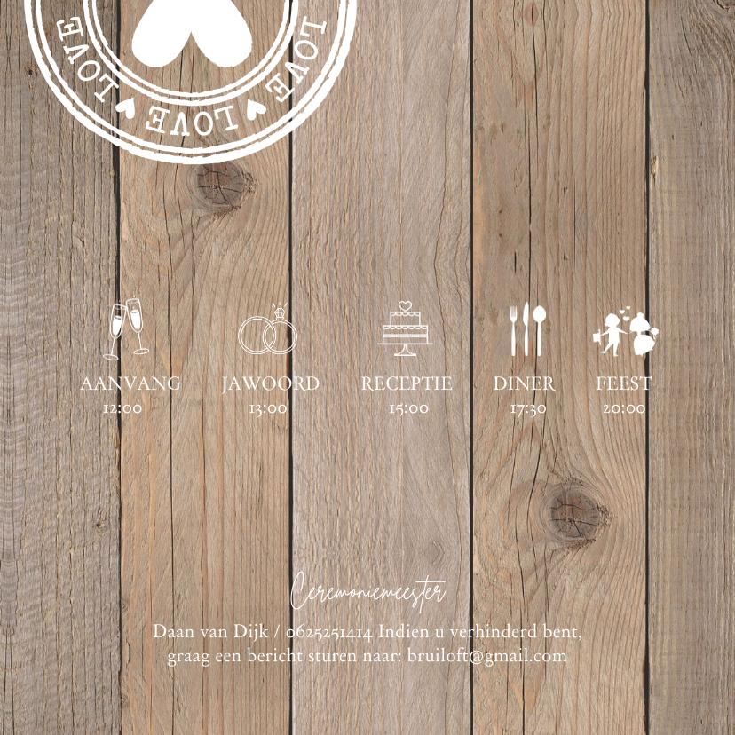 Trouwkaart foto hout stempels 2