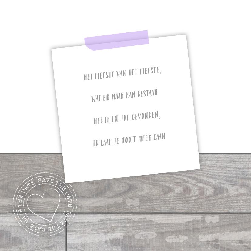 Trouwkaart fotocollage houtlook lila 2