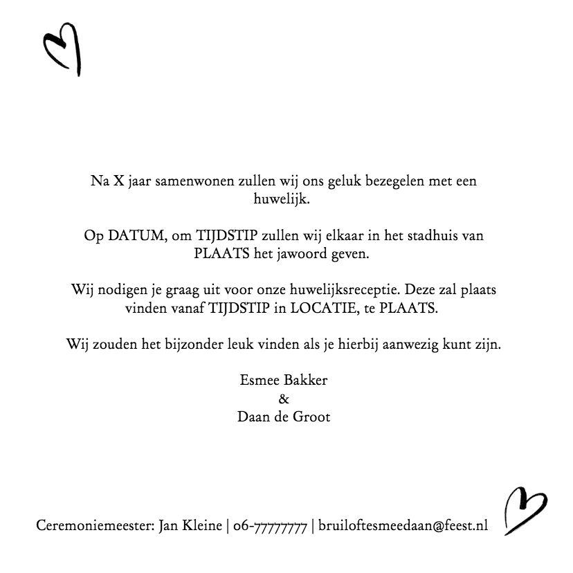 Trouwkaart fotocollage wij gaan trouwen met hartjes 3