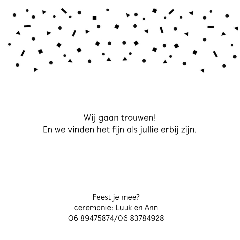 Trouwkaart fotocollage zwart confetti mr&mrs goud 2