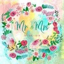Trouwkaarten - Trouwkaart geschilderd Mr & Mrs