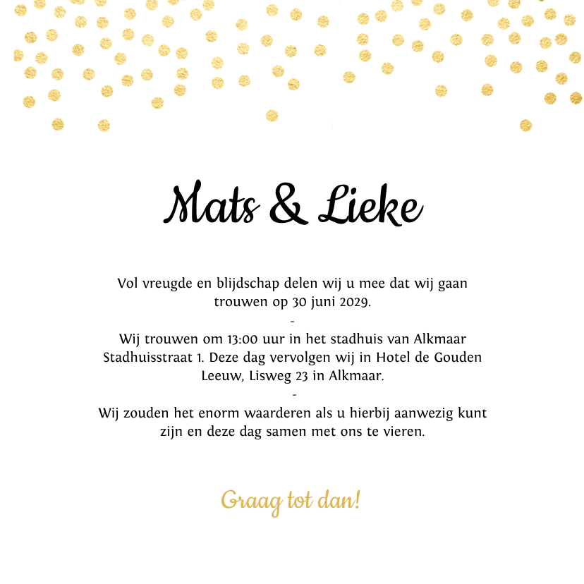 Trouwkaart goud met hartje trouwkaarten kaartje go