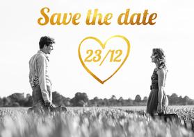 Trouwkaarten - Trouwkaart goud save the date