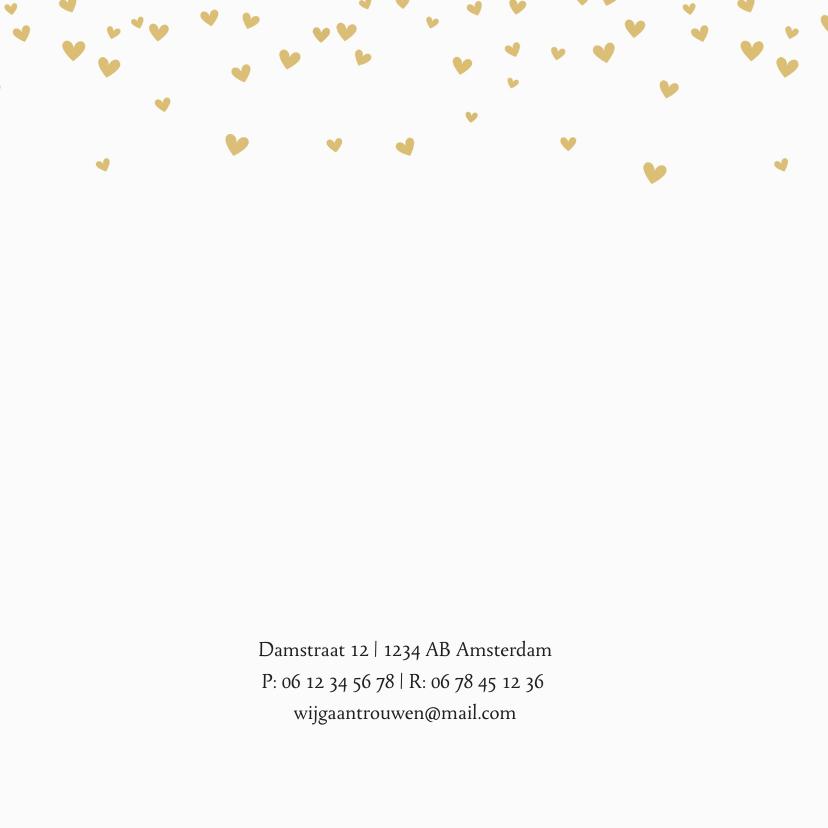 Trouwkaart goudgele hartjesregen 2