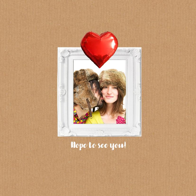 Trouwkaart hart rood yes 2