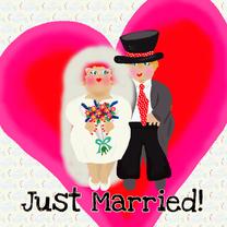 Trouwkaarten - Trouwkaart harten huwelijk PA
