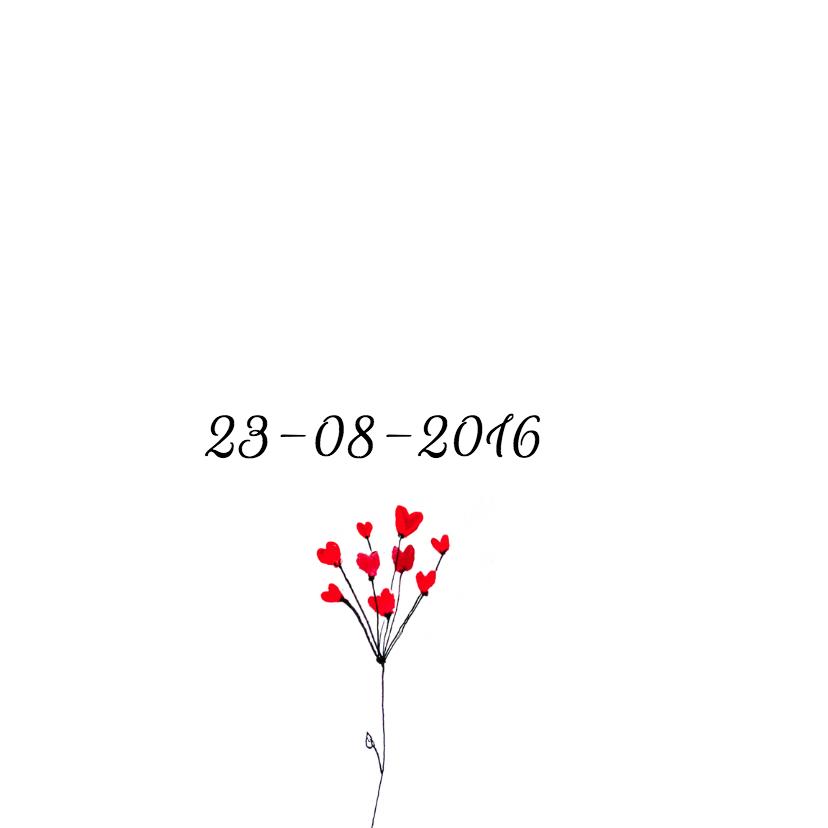 Trouwkaart hartjes bloemen 2