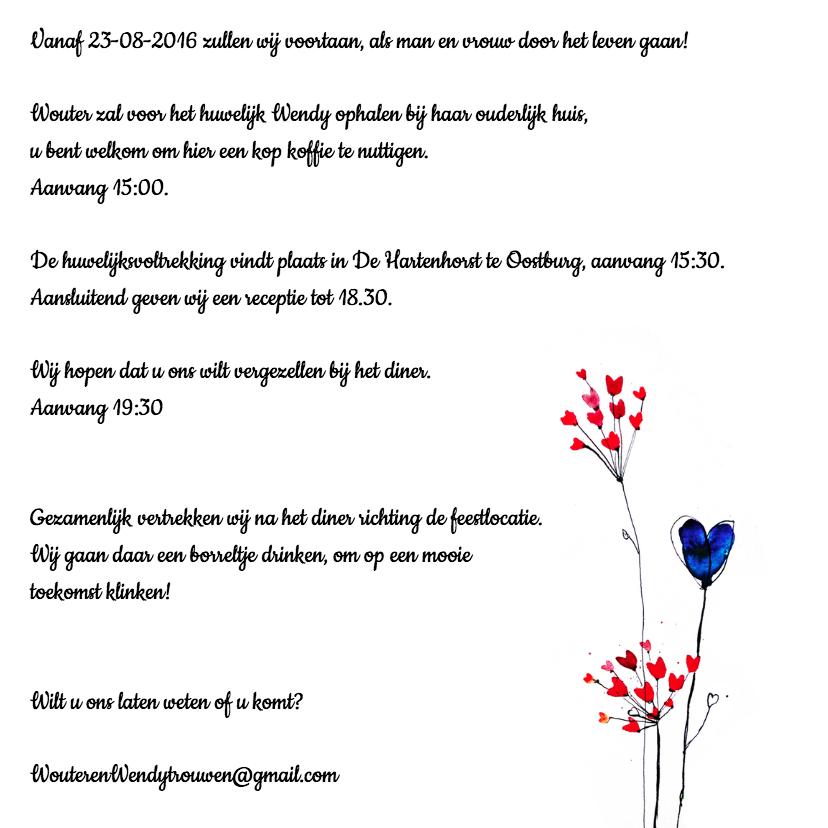 Trouwkaart hartjes bloemen 3