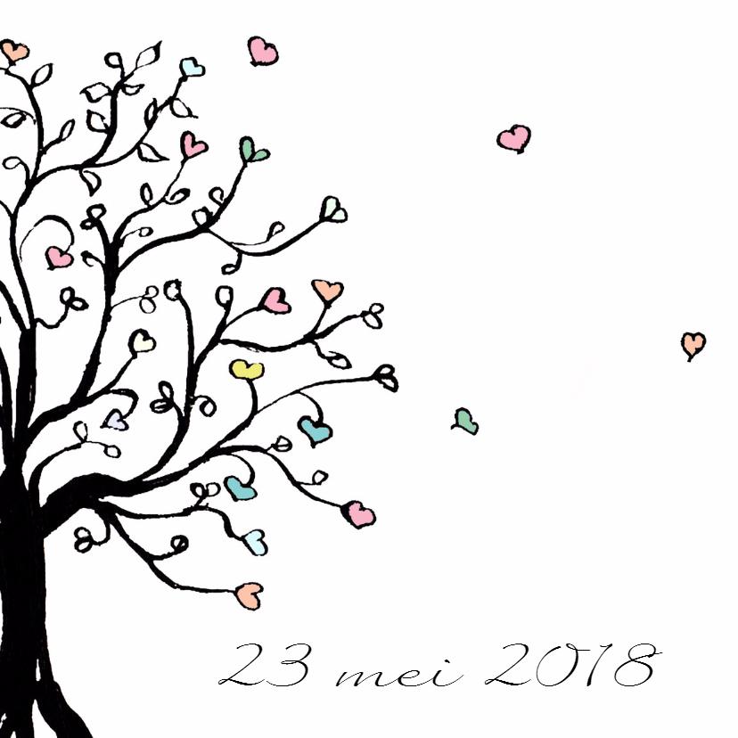 Trouwkaart hartjesboom 2