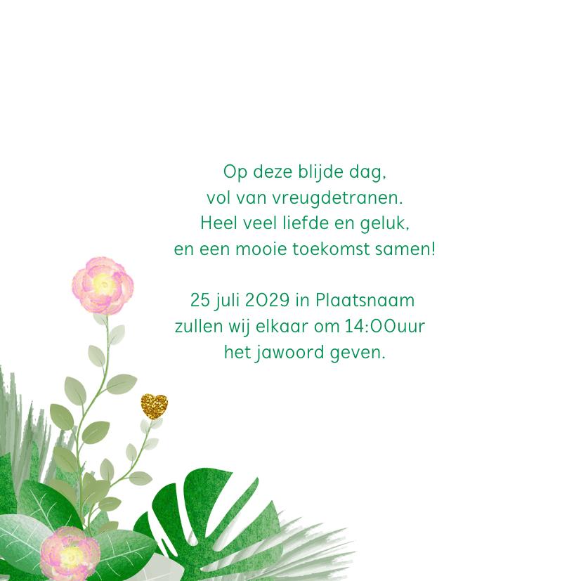 Trouwkaart hippe kaart met bloemen en botanica 2
