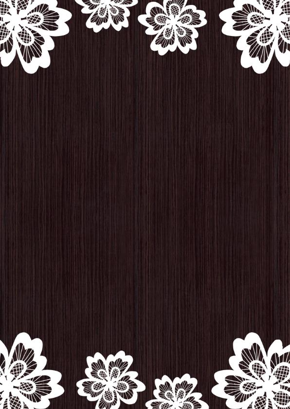 Trouwkaart hout bloem - DH 2