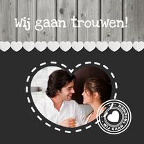 Trouwkaarten - Trouwkaart Hout Grijs 1LS3