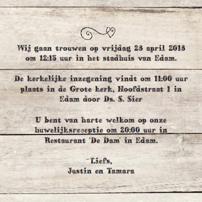 trouwkaart - hout print 3