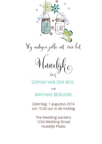 Trouwkaart Huwelijk Tuinfeest 3