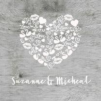 Trouwkaart iconen hart hout wit